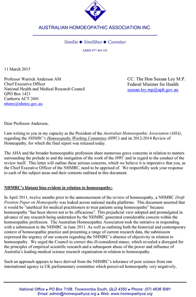 Page1 Open Response Letter By AHA to NHMRC 1
